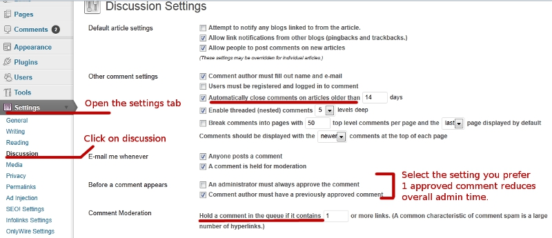 Wordpress spam comments settings