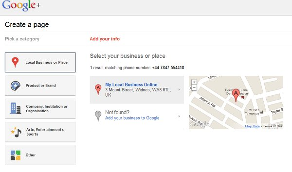 Create a Google+ Page for local business