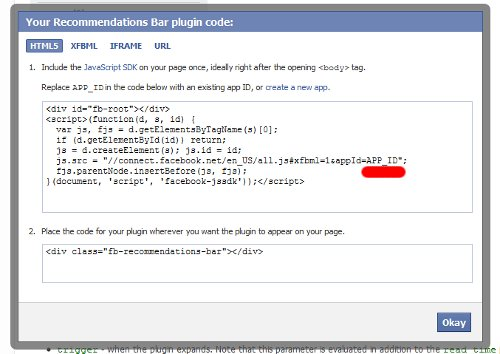 facebook recommendations code