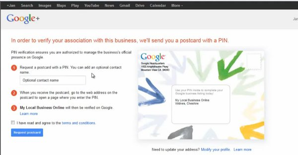 Google Plus merge business verification postcard request