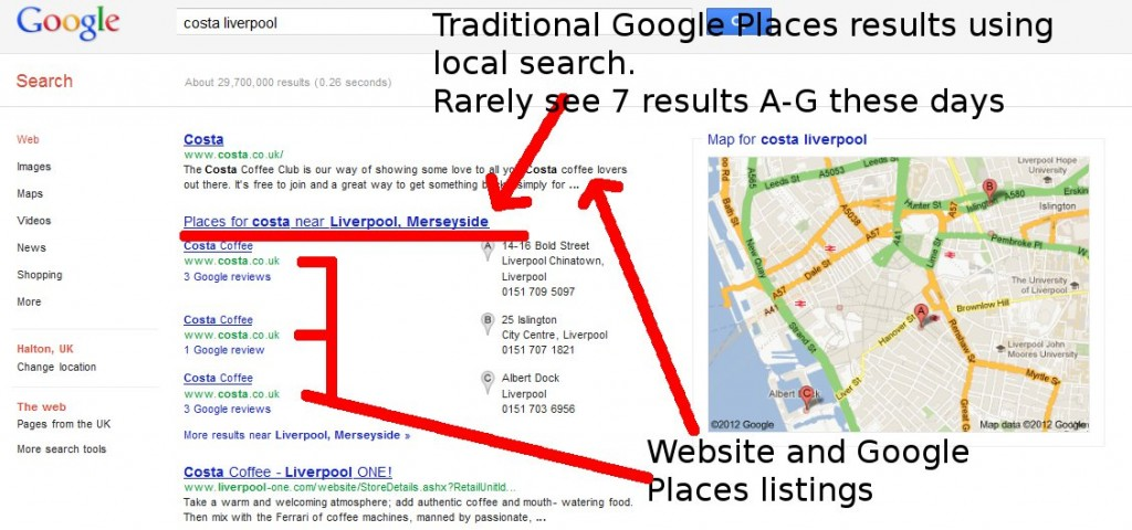 Google local search results - 3-pack branded