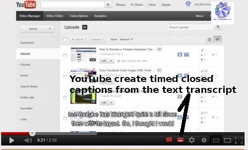YouTube created closed caption from interactive transcript