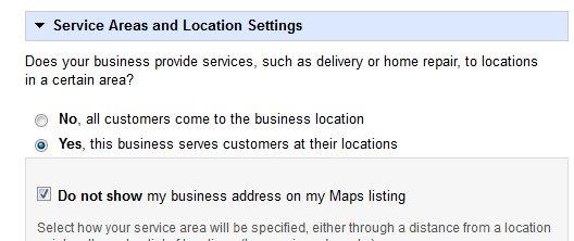 Google Places service area - hide your address
