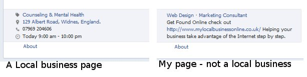 facebook local business page details