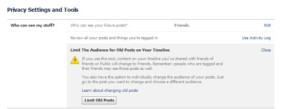 facebook privacy aply to old posts