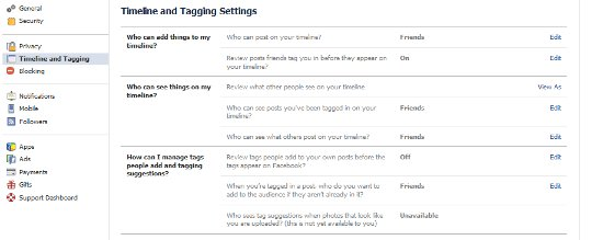 Facebook privacy - tagging settings