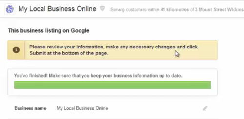 Google Places review your info yellow bar warning