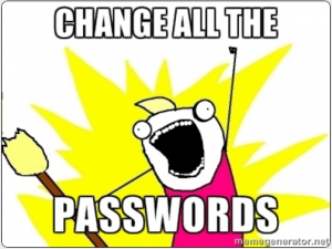Heartbleed - change all the passwords! (When you've checked the hold has been patched and certificate reissued!)