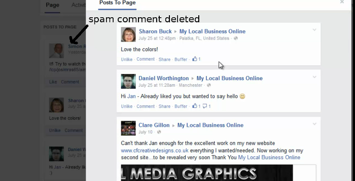 Delete Facebook Page comment part 4 - spam comment disappears from the lightbox and your Facebook Page will refresh when you close the pop up