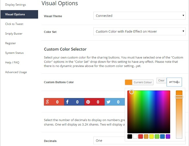 customise your social media share buttons with the Social Warfare custom colour picker