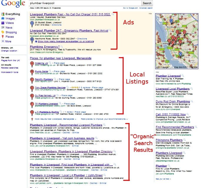 Google local business search