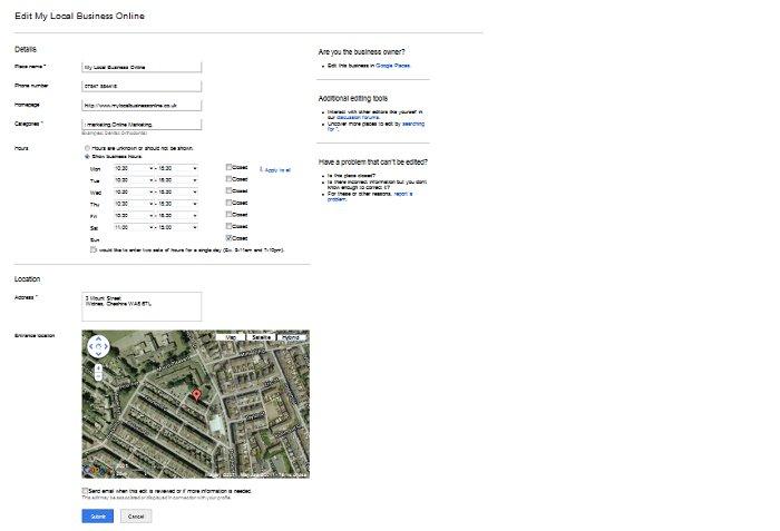 Google Places edit options