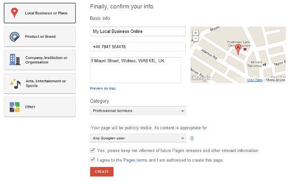 Google Plus business pages