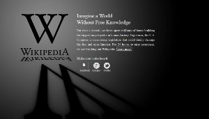 Wikipedia blacked out for 24 hours - stop sopa