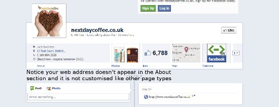 facebook timeline local business example
