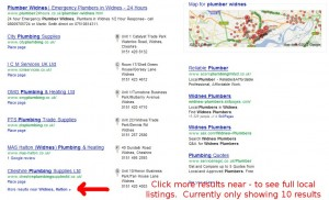 Google local search results bug
