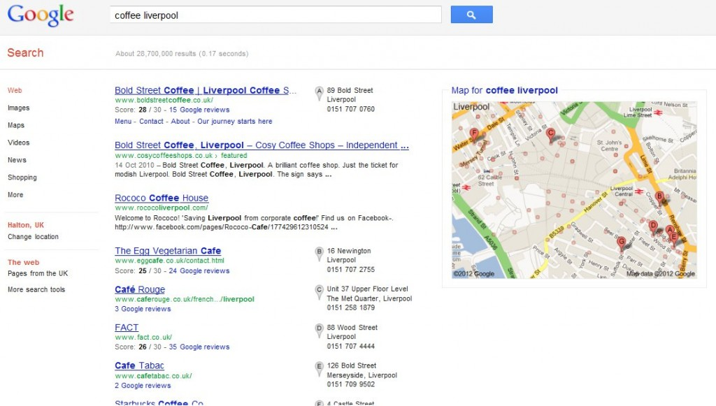 Google local search blended results