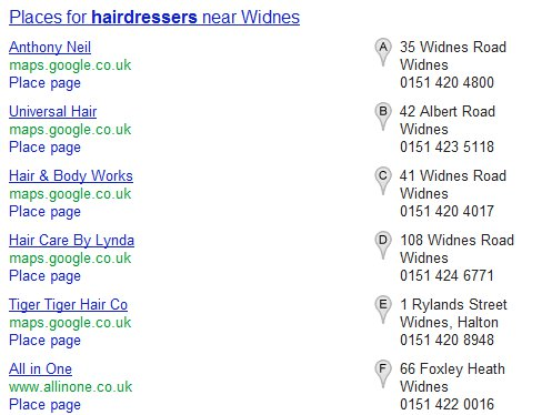 google local search results A-G