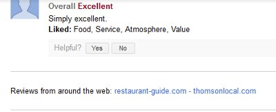 Google sees reviews from around the web