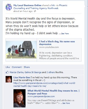 World mental health day FB comment