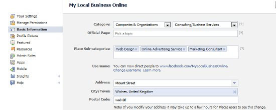 Optimise business page info for Facebook Graph Search
