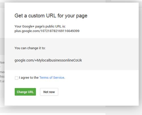 google plus page custom url