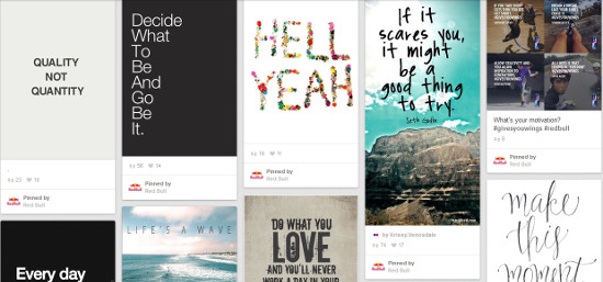 inspirational quotes and sayings do well on Pinterest