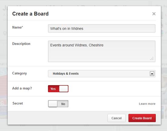 create a Pinterest map pin board step 2