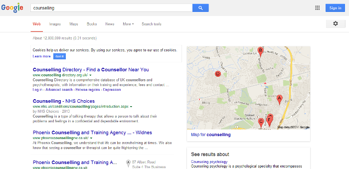 local search results without location modifier