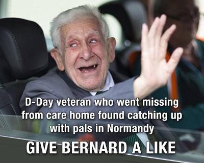D-Day vet Bernard Jordan Facebook viral image
