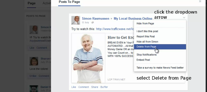 Delete Facebook Page Comments step 2 - click the dropdown arrow and select Delete from Page