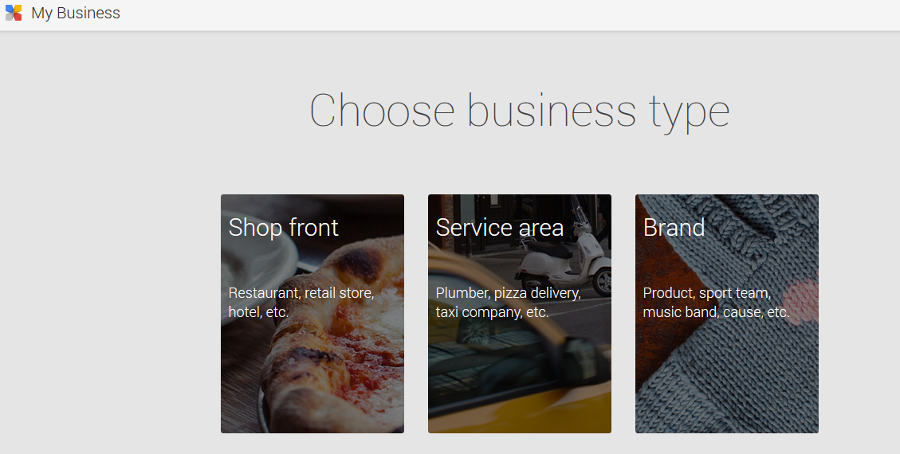 Google business listings are created through Google My Business - Page type choices