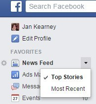 Facebook News Feed - choose top stories or most recent