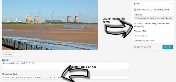 An example of image optimisation, file name and alt tag